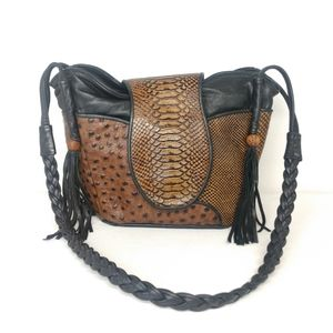 D'Onofrio Brown Black Snake Reptile Skin Purse